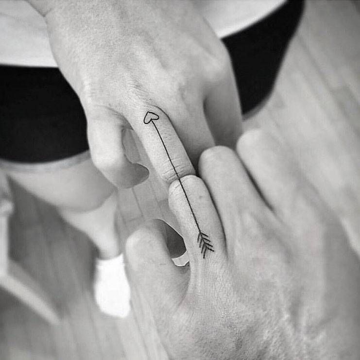 Matching Arrow Tattoo On The Ring Fingers Matching Tattoos