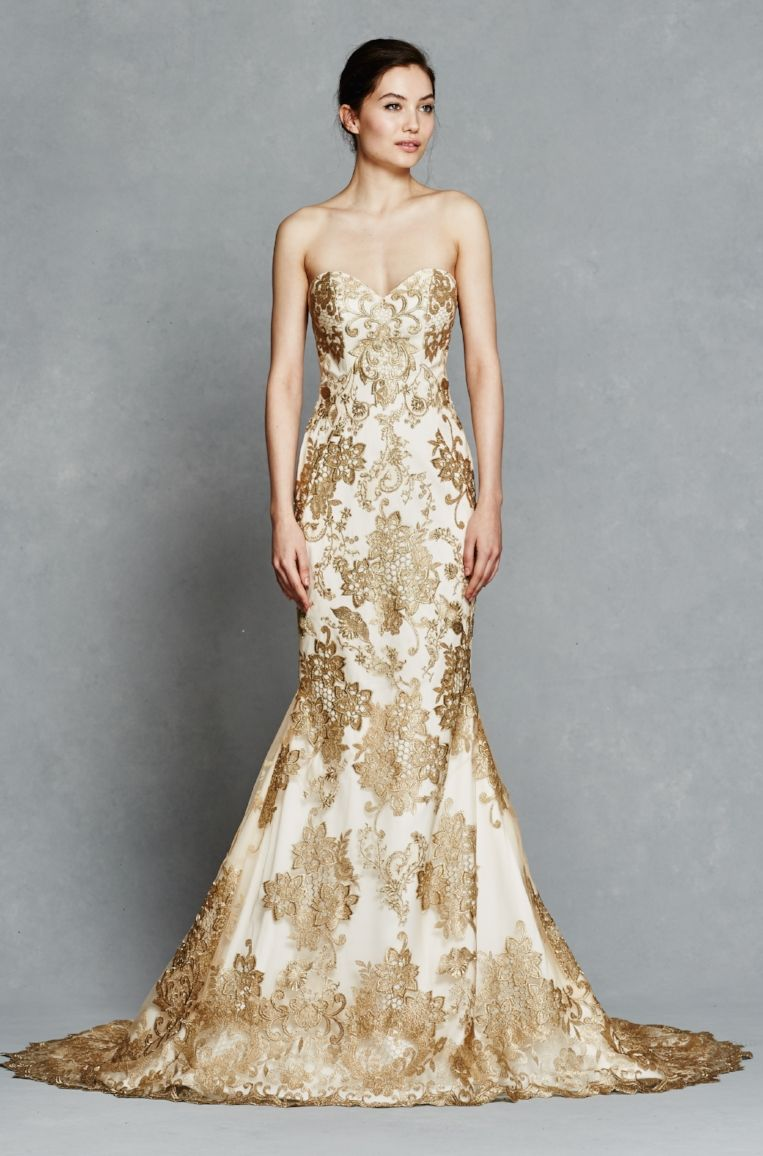Gold Embroidery Strapless Fit To Flare With Illusion Back Neckline And Detachable Embroidered