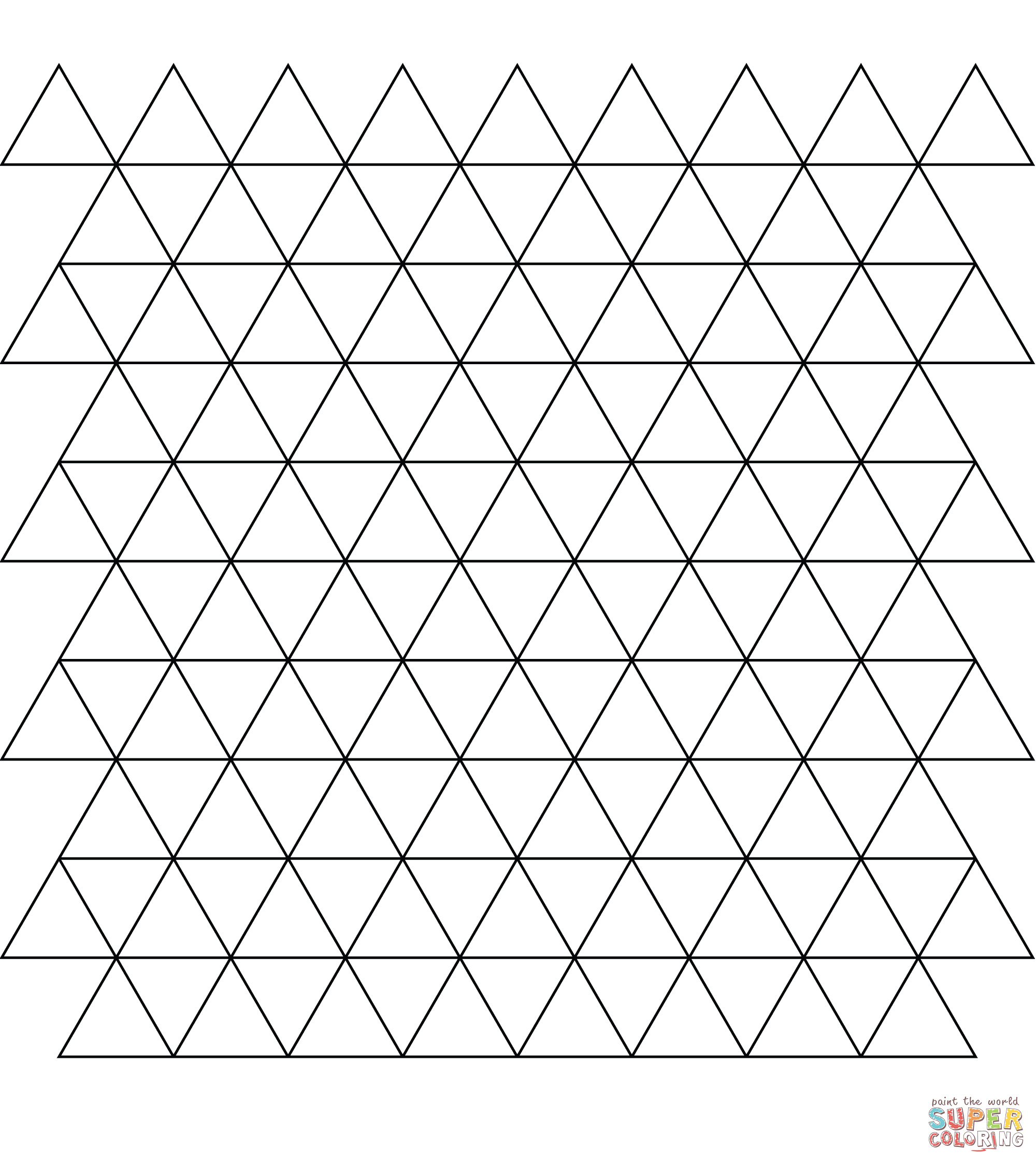 tessellation with triangle coloring page supercoloringcom - Triangle Instrument Coloring Page