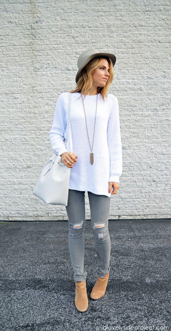 e93336ca2 15 Combinaciones con jeans grises que te enamorarán | Outfits ...