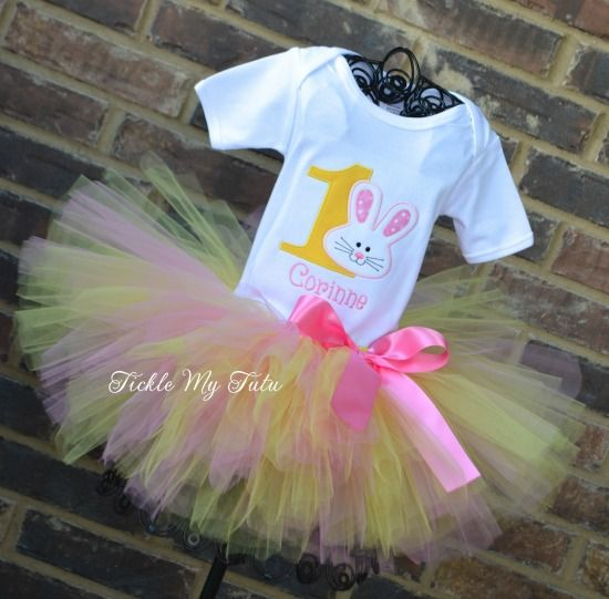 Some BUNNY Is ONE Birthday Tutu Outfit (pink and yellow), Bunny Birthday Party, Bunny Birthday Outfit, Easter Birthday Outfit
