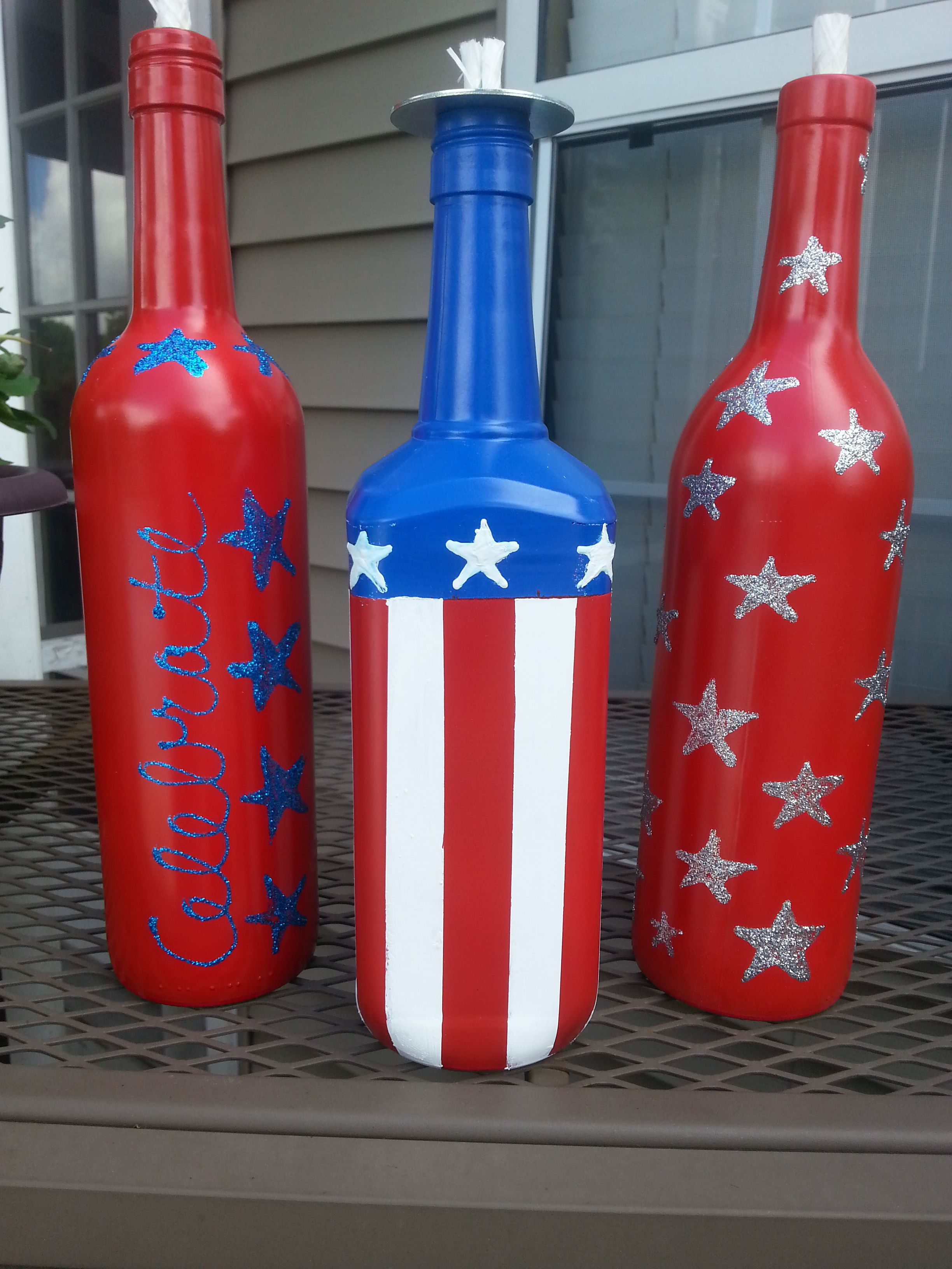 How To Decorate Wine Bottles Happy Fourth Of July Collection  Painted Wine Bottles  Pinterest