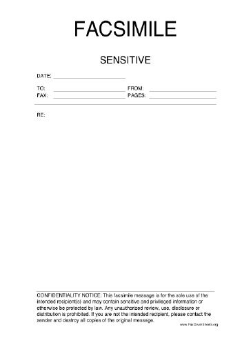 This printable fax cover sheet is labeled Sensitive and also - Fax Cover Sheet Free Template