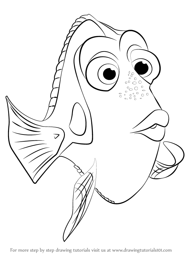 How To Draw Dory From Finding Step By Learn Drawing This Tutorial For Kids And Adults Nemo Coloring Pages