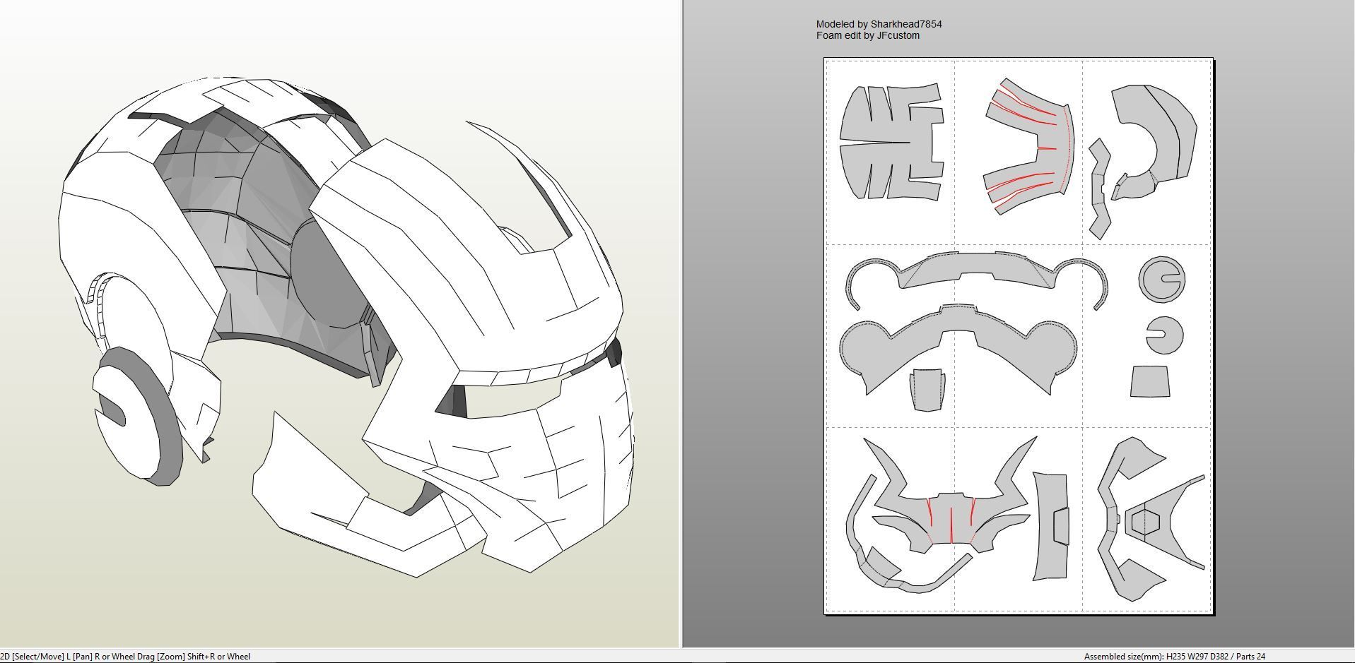 Papercraft .pdo file template for Iron Man - Mark 2 Full Armor + ...