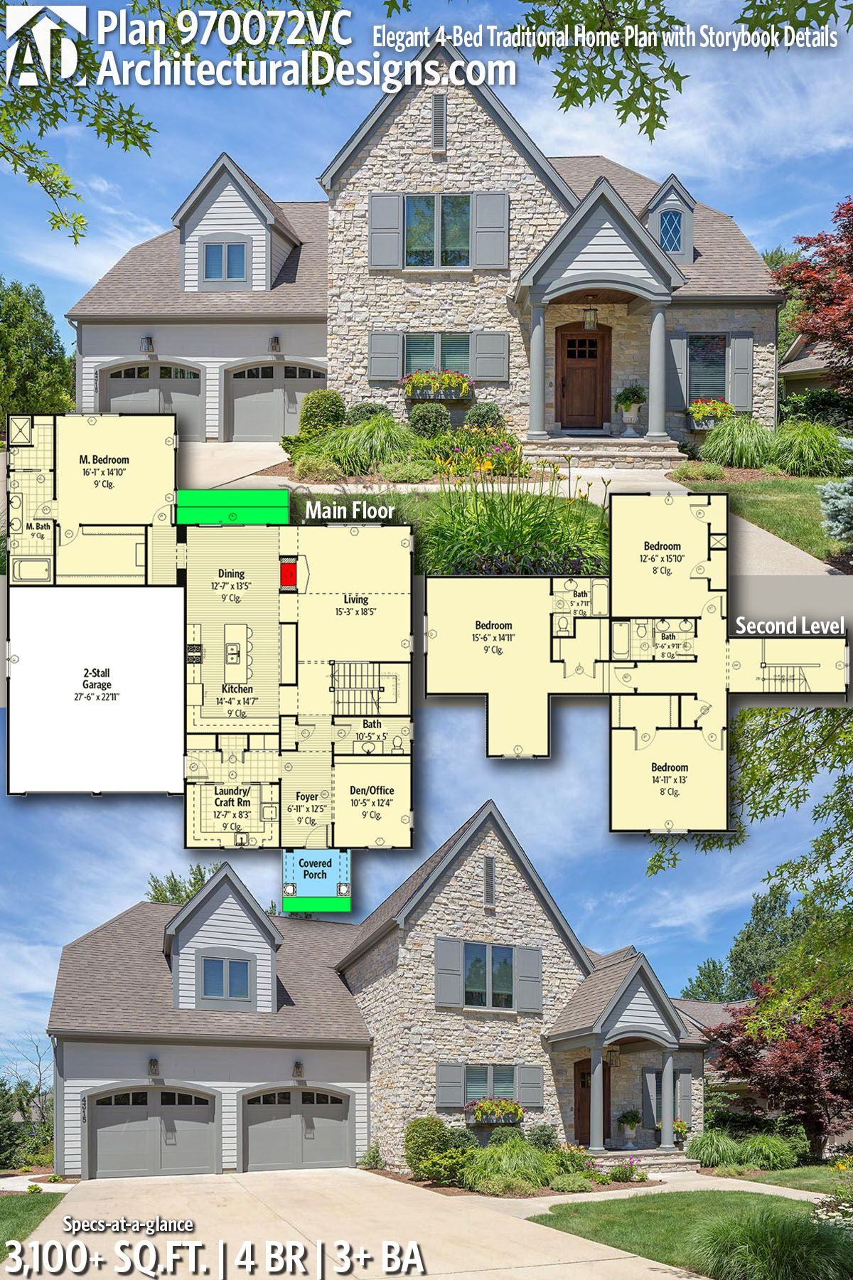Plan 970072vc Elegant 4 Bed Traditional Home Plan With Storybook