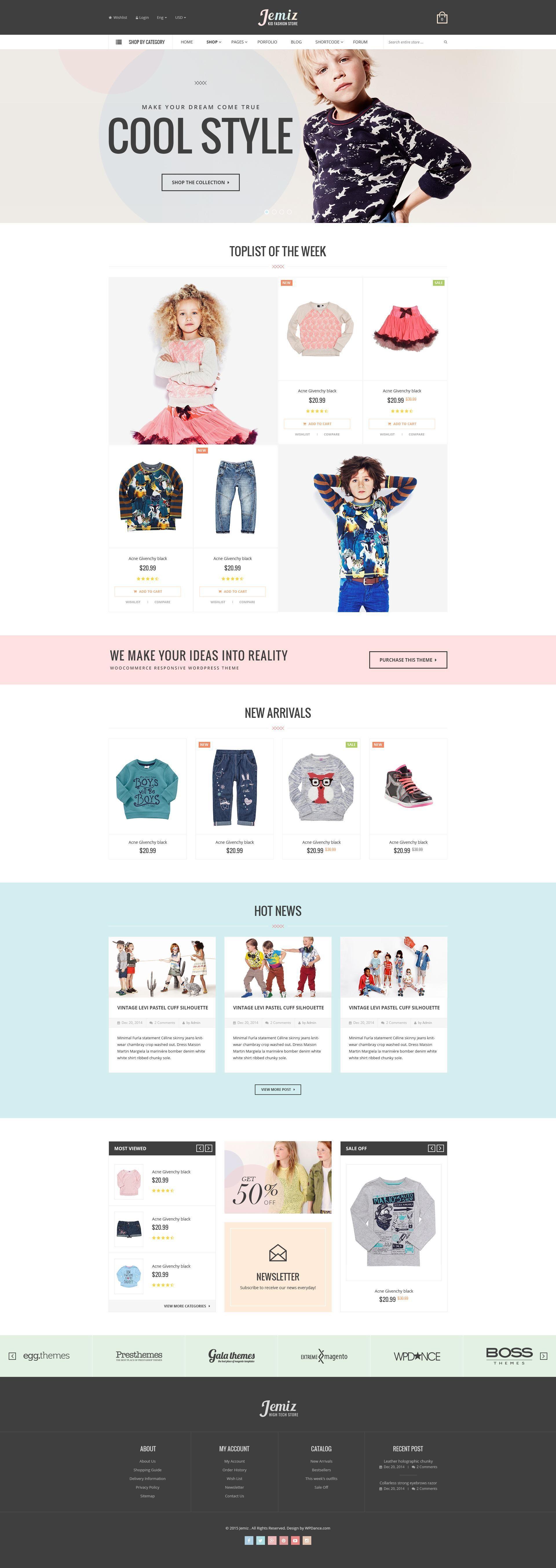 Jemiz & CMS PSD Template Kids fashion stores