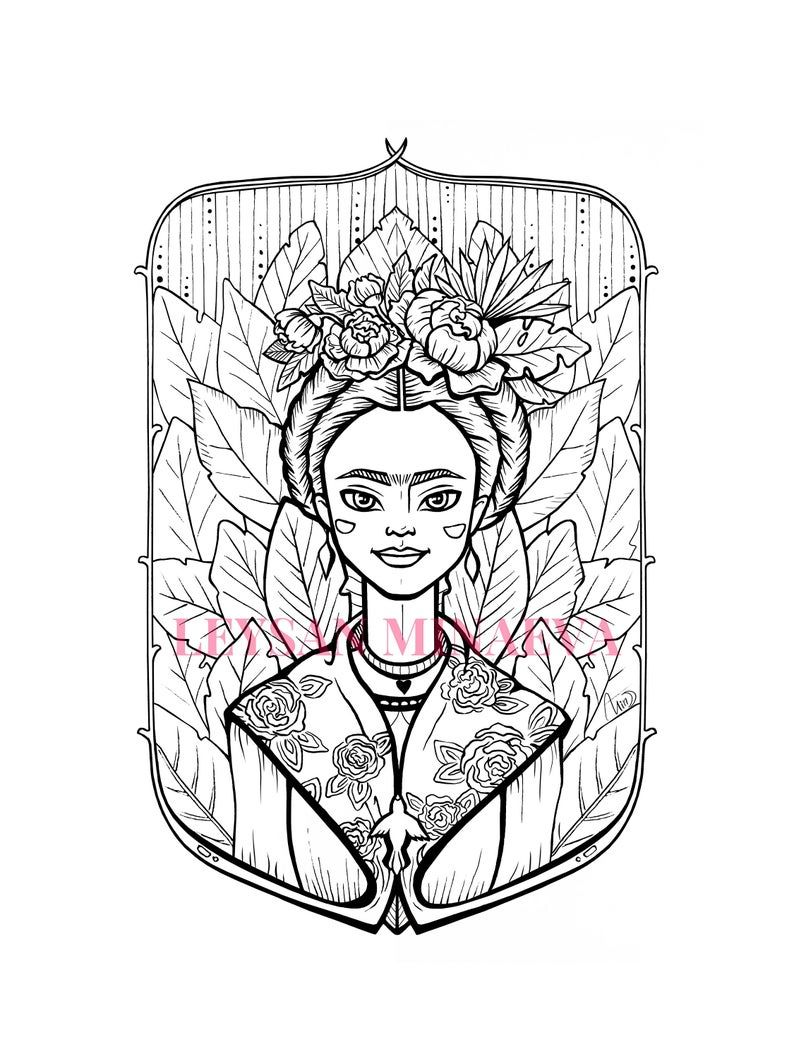 Pin By Istihome On Frida In 2021 Stress Coloring Coloring Pages Frida Kahlo [ 1059 x 794 Pixel ]