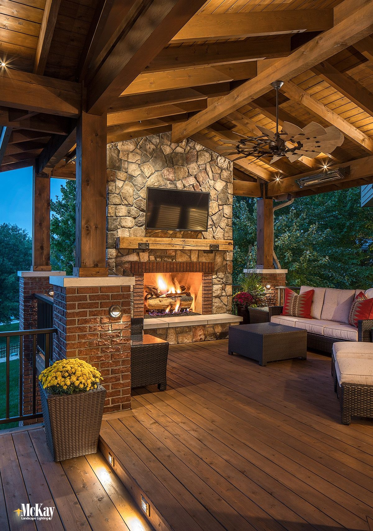 An Omaha Deck Patio Gets A Landscape Lighting Refresh Outdoor Covered Patio Patio Outdoor Kitchen Patio