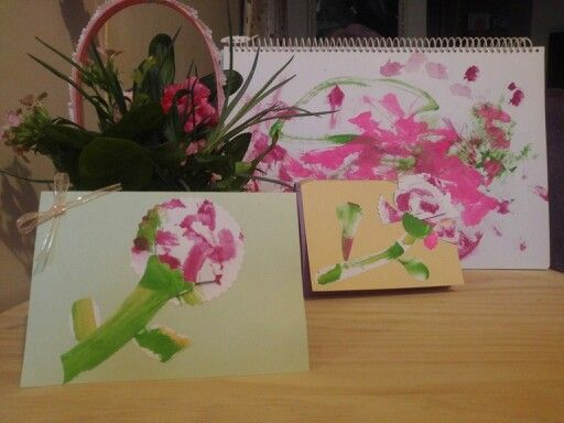 I used my son and daughter's water color exploration to make cards. Happy Mother's day.