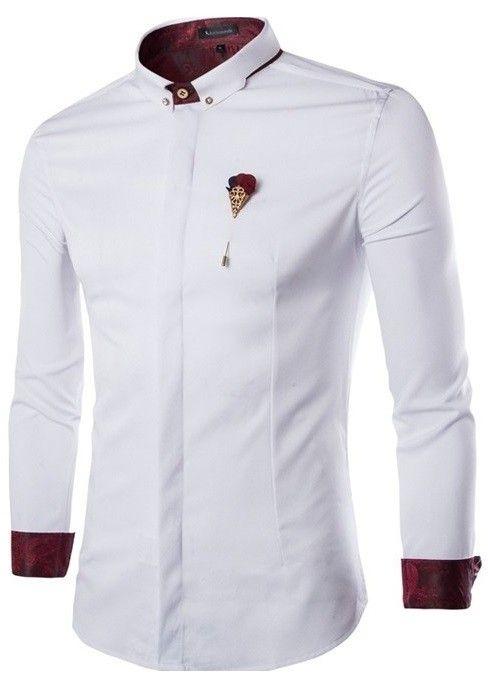 01406b1a96e2b Camisa Fashion Casual Cuello Mandarín - Detalles Elegantes - en Blanco