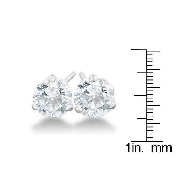 1/2 Carat Diamond Martini Stud Earrings In 14 Karat White Gold,
