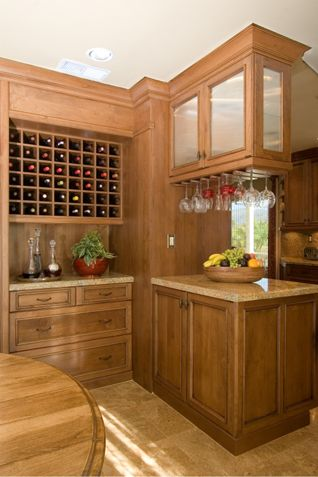 Wine Area Serves As A Divider Between Kitchen Dining Room The Glass Cabinets Store