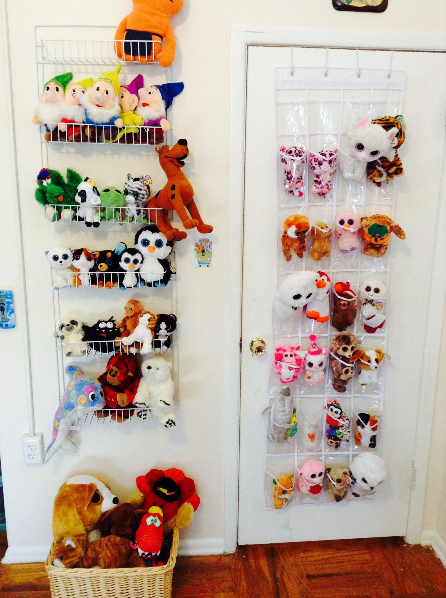 8 Kids Storage And Organization Ideas: Over The Door Shelves Make GREAT Stuffed Animal Storage