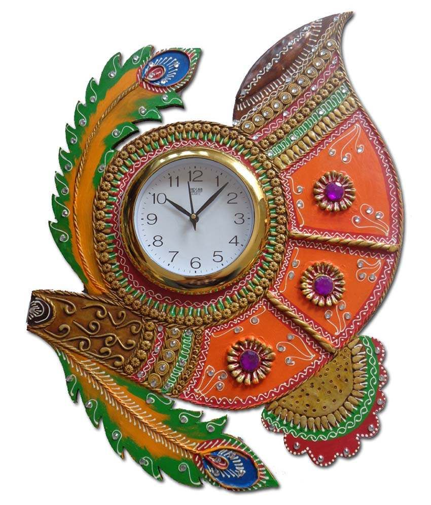 Hello india wooden hand made paper mache wall clock art papier hello india wooden hand made paper mache wall clock amipublicfo Images