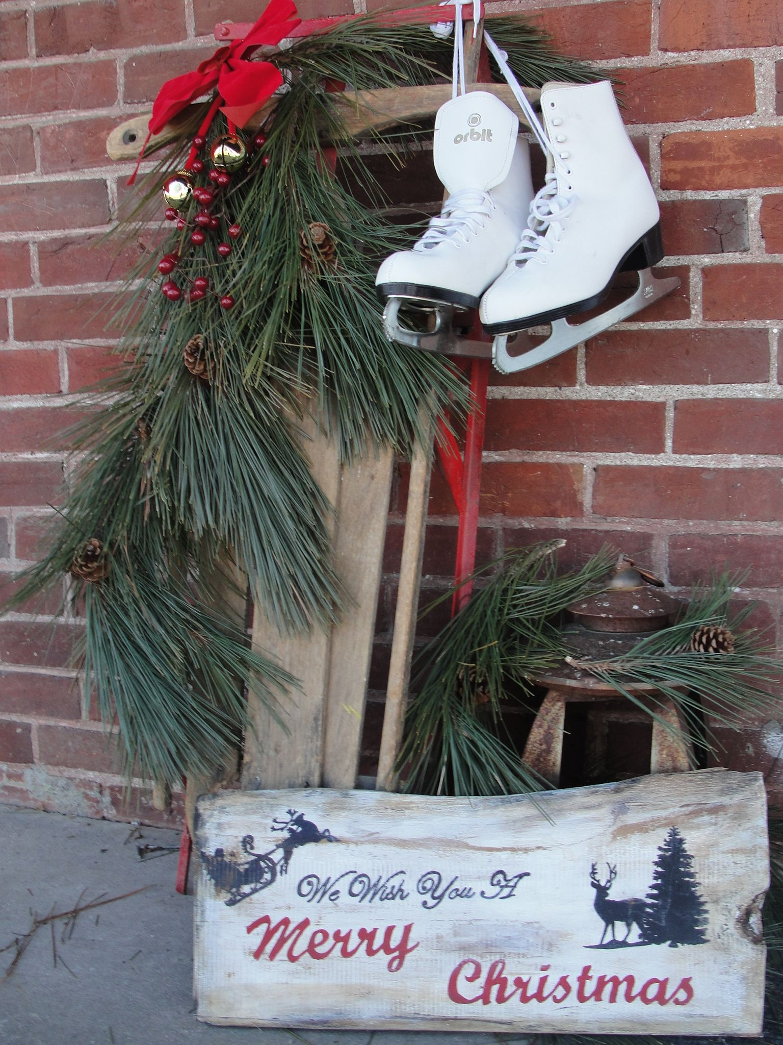 diy rustic outdoor antique sleigh christmas decoration and my handmade barnboard wood sign - Rustic Outdoor Christmas Decorations