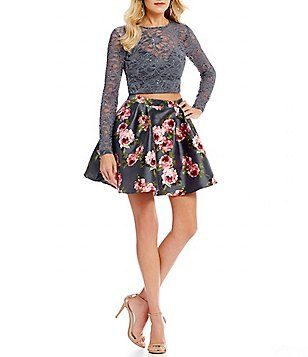 Floral Print Skirt Two-Piece Dress