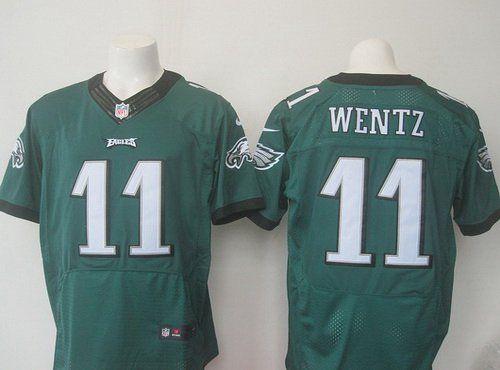 e5565dbea03 Men's Philadelphia Eagles #11 Carson Wentz Green Team Color NFL Nike Elite  Jersey