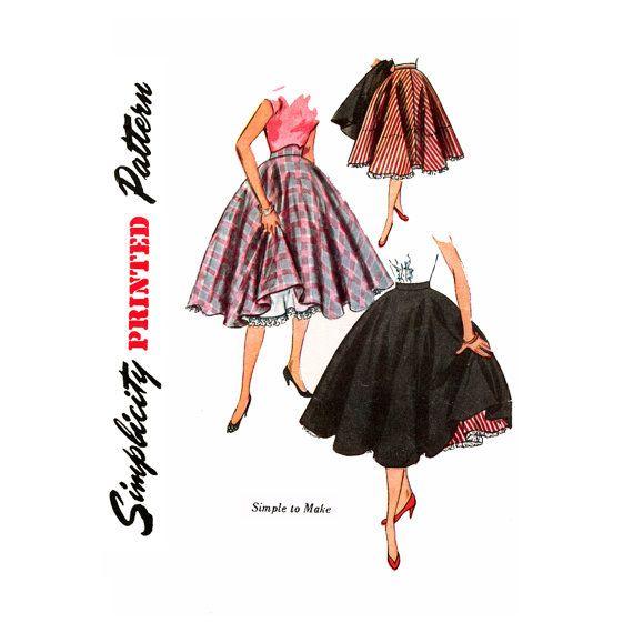 1950s Rockabilly Skirt Vintage Sewing Pattern Waist 24 Simplicity 3813 Full Circle Skirt, Skirt and Petticoat, Square Dance Skirt, Crinoline on Etsy, $16.00