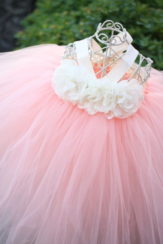 Peach tutu dress, flower girl dress, tutu dress | Vestido melocotón ...
