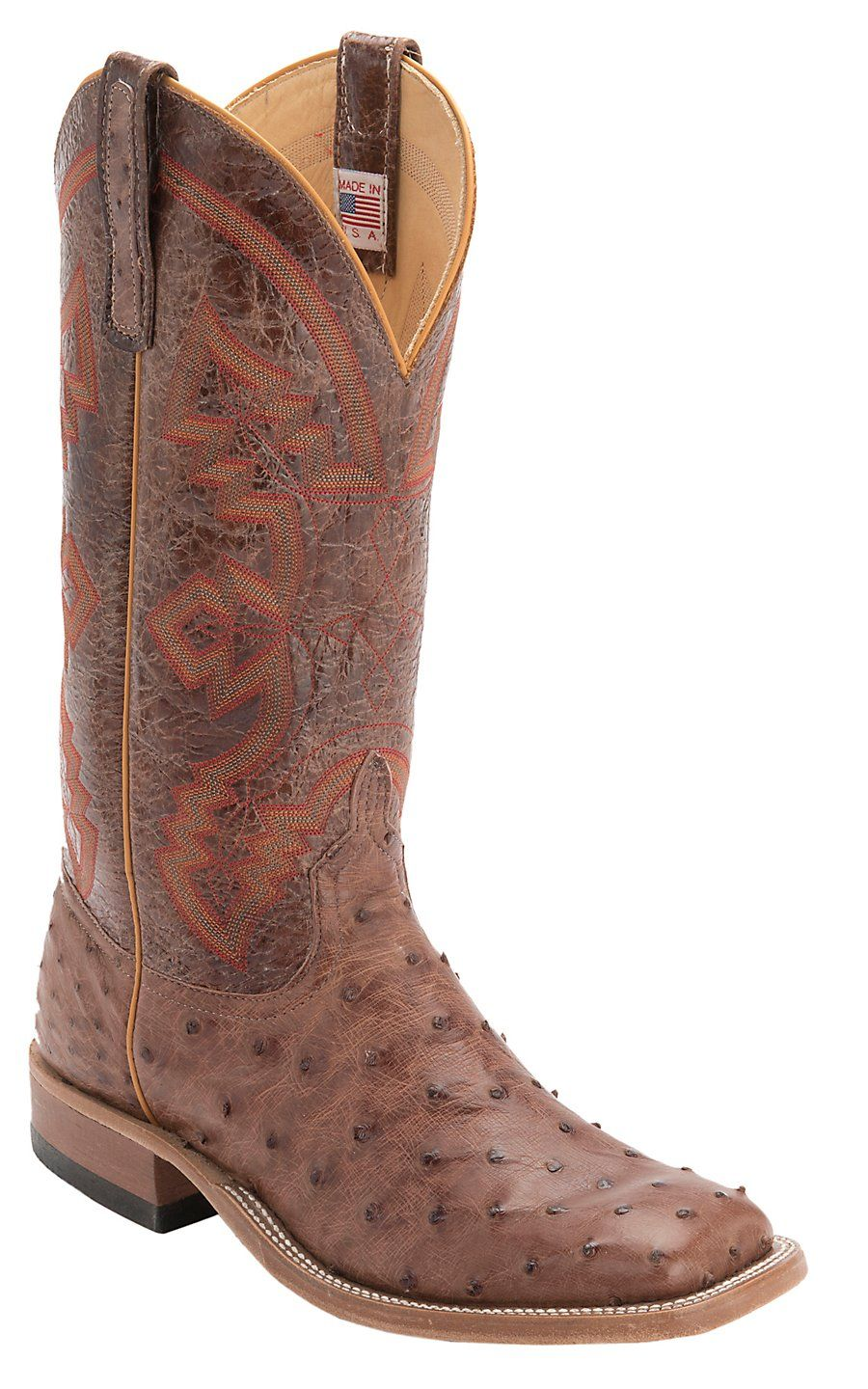 353c974766f Anderson Bean Men's Rum Brown Full Quill Ostrich Double Welt Square ...