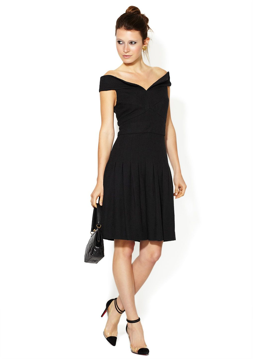Chanel Boucle Off-Shoulder Dress by Chanel at Gilt