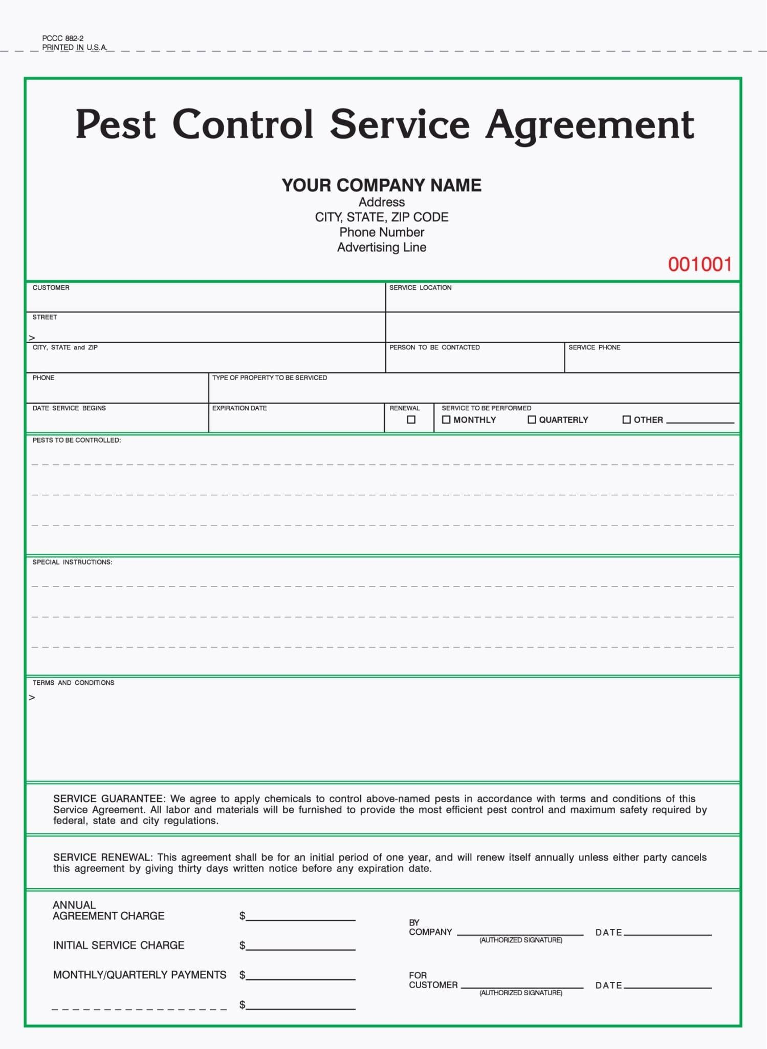 2 Part Pest Control Service Agreement Forms With Images Pest