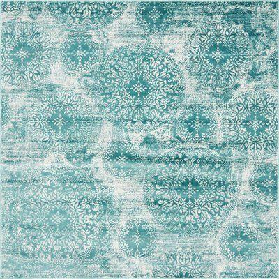 Mistana Auden Damask Turquoise Area Rug   Birch Lane