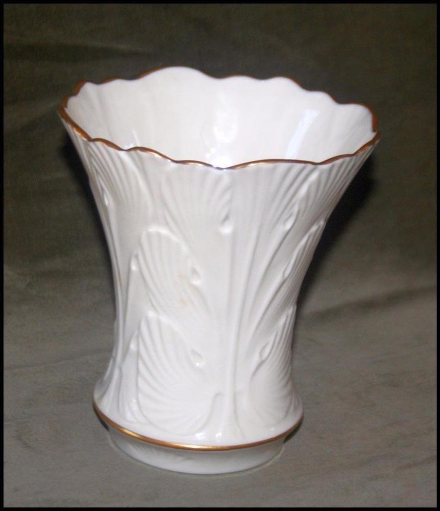 Vintage lenox china ivory leaf pattern gold trim flared vase 55 vintage lenox china ivory leaf pattern gold trim flared vase 55 floridaeventfo Image collections