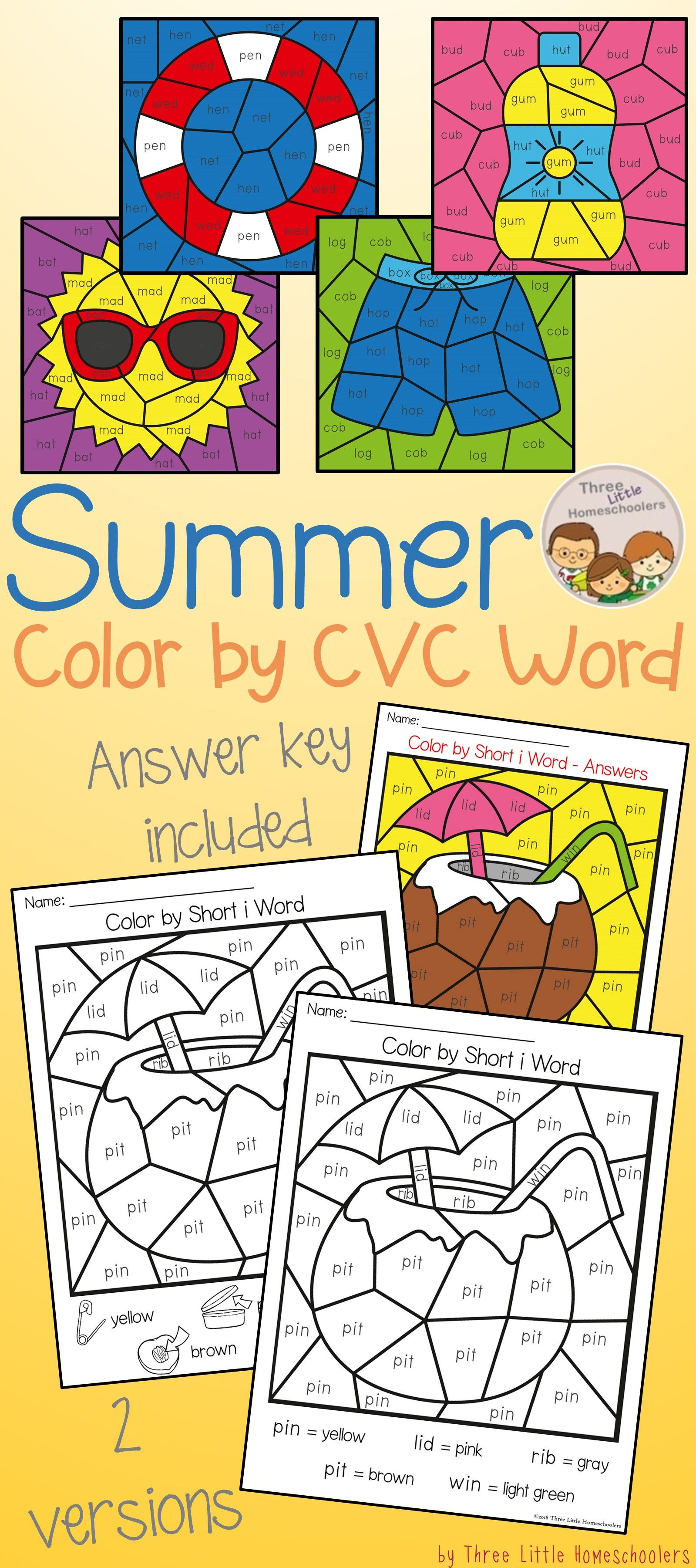 Summer Color By Cvc Word
