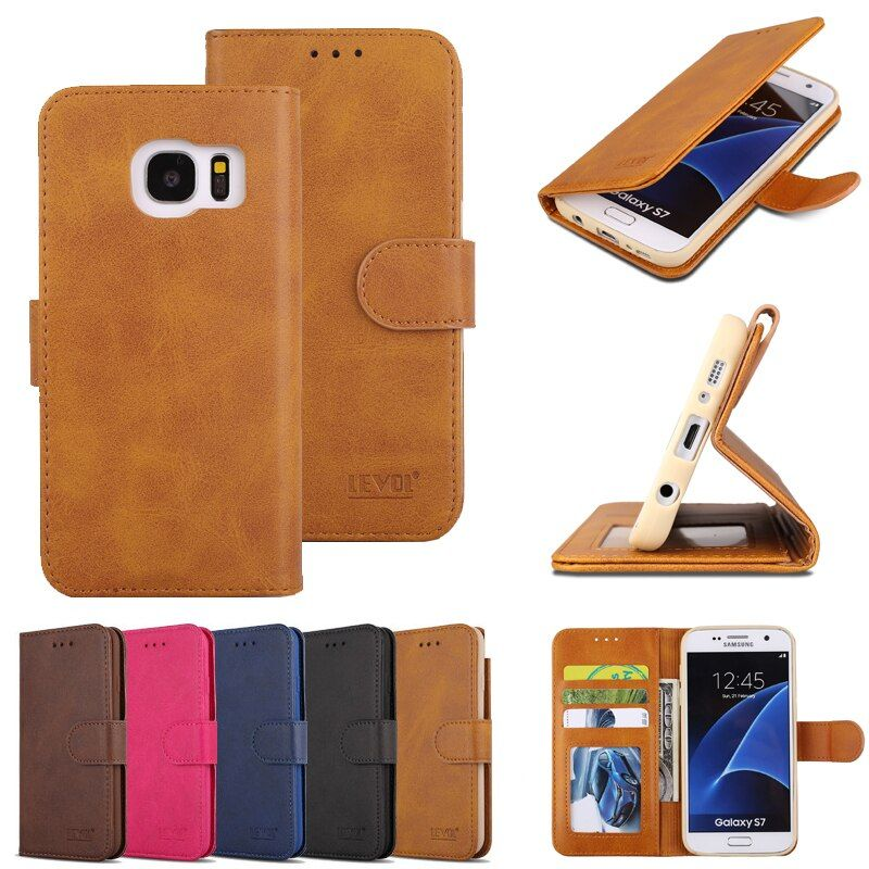 Leather Wallet Case Cover For Samsung Galaxy S7 Edge Soft Silicone Card Holder Flip Phone Coque For Samsung S7 Edge Case