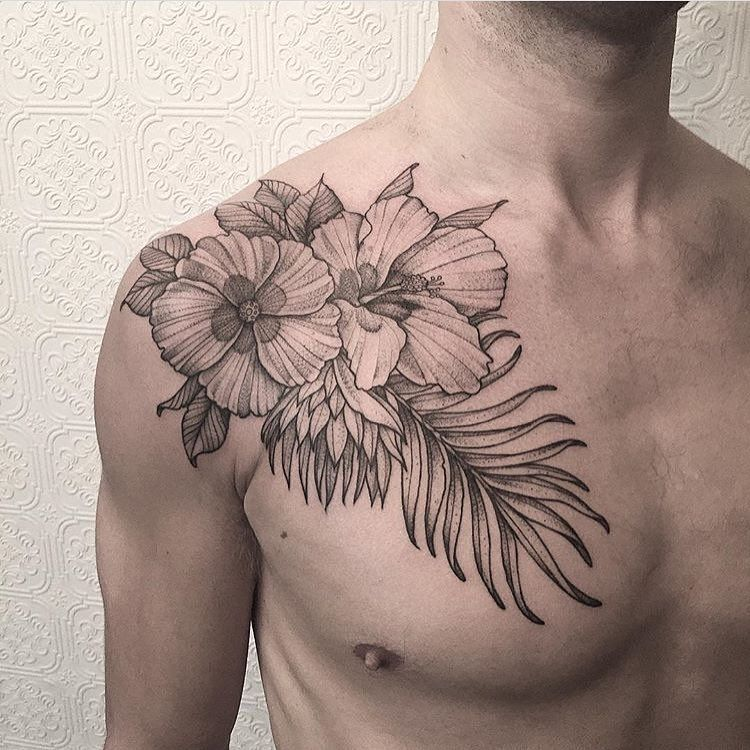 Great Placement For These Tropical Flowers By Johno Tattooer Tattoo Blacktattoo Illustration Blackirista Men Flower Tattoo Tattoos Tropical Flower Tattoos