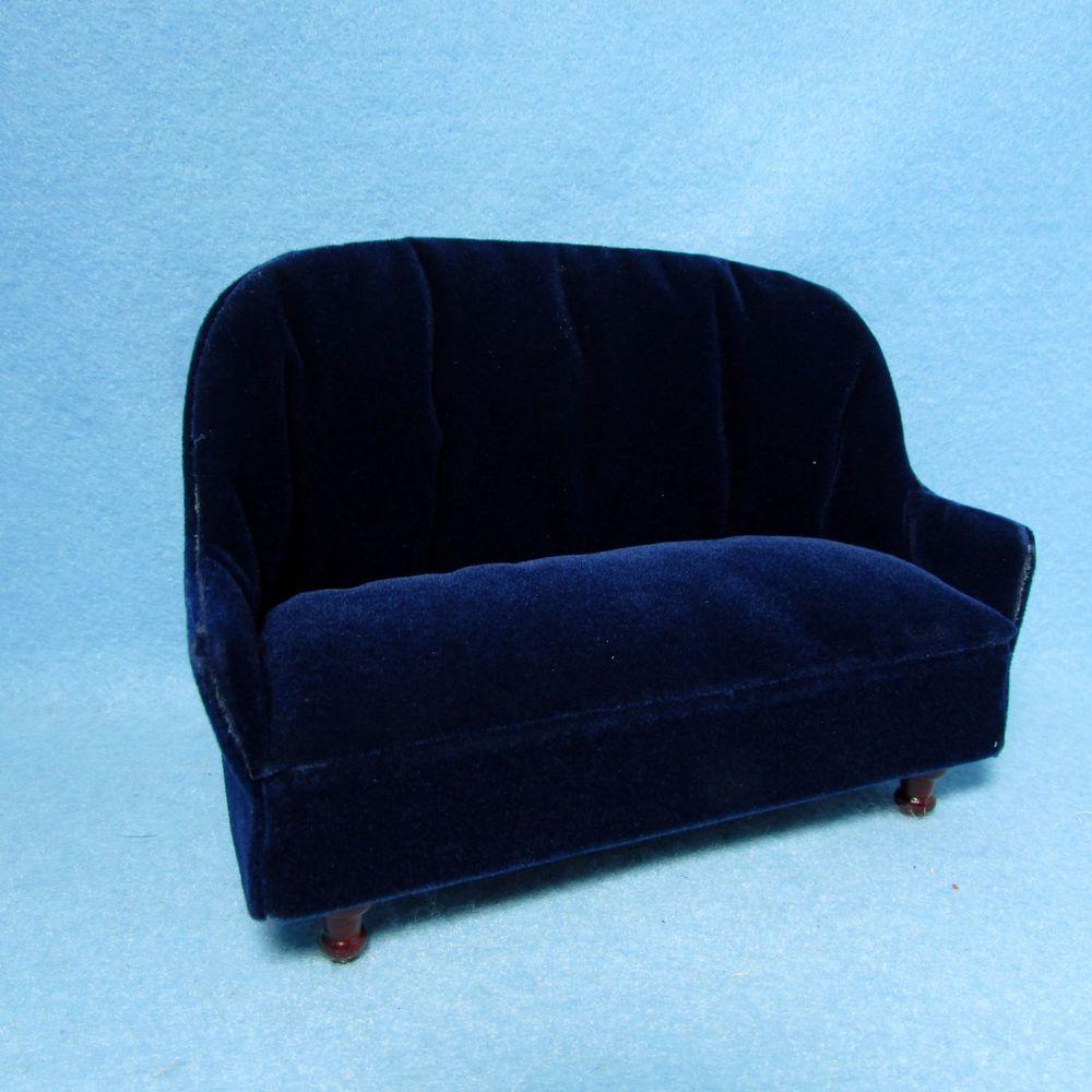 Dollhouse Miniature Living Room Couch / Sofa in Blue Velvet ~ CLA10694 #Classics
