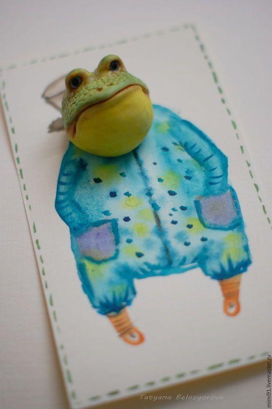 Купить Брошка-лягушка - комбинированный, брошь, лягушка, жаба, лягушонок, полимерная глина, полимерная пластика