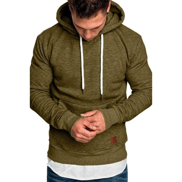 Men/'s Long Sleeve Autumn Winter Splicing Pocket Casual Sweatshirt Hoodies Blouse