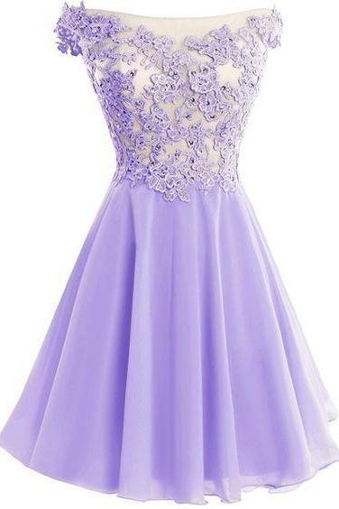 fe1e5a1b2f Cute Lavender Lace and Chiffon Short Party Dresses