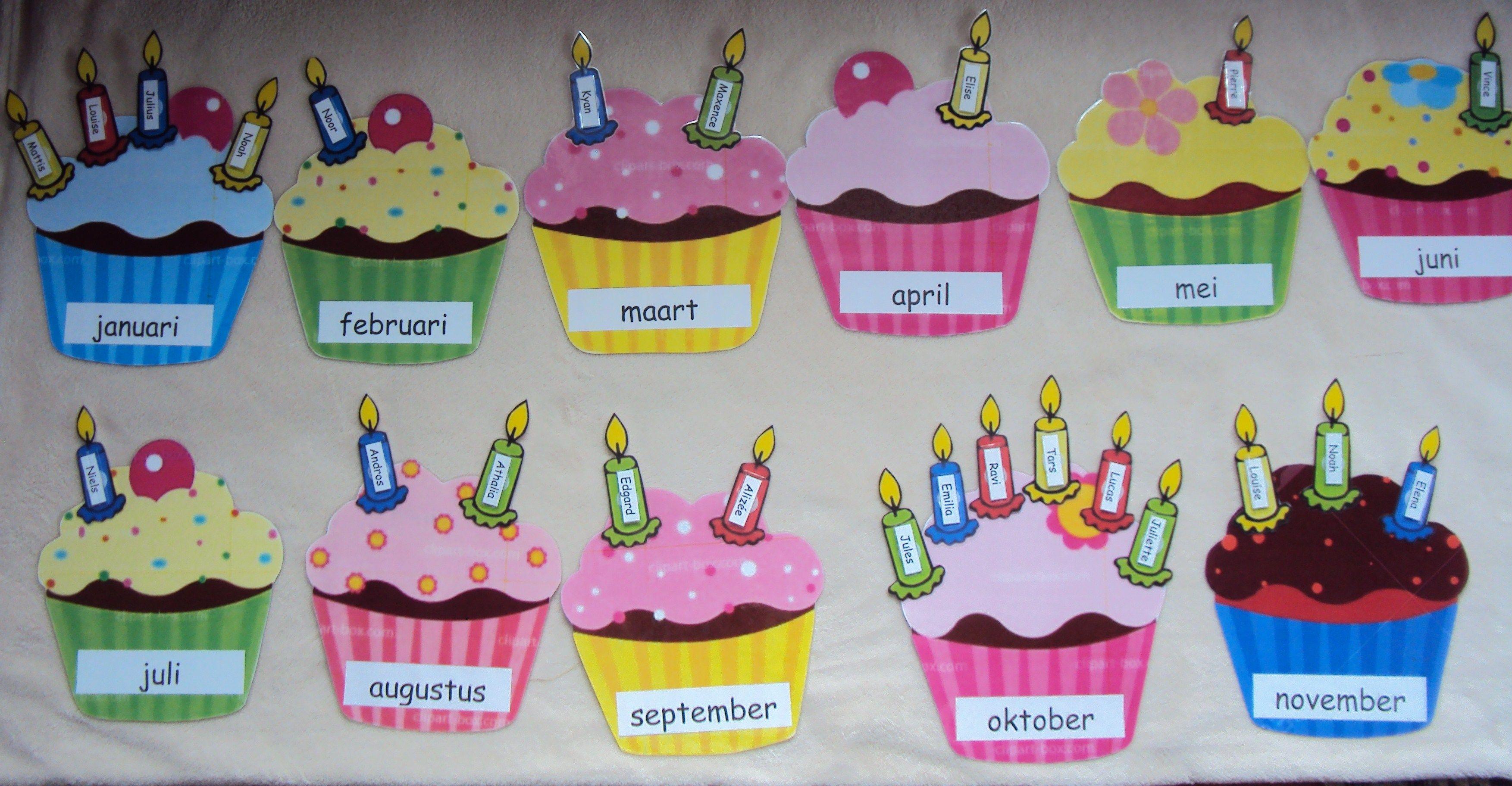Mijn verjaardagskalender (Voor de cupcakes en kaarsjes zie bord 'kalenders en symbolen')