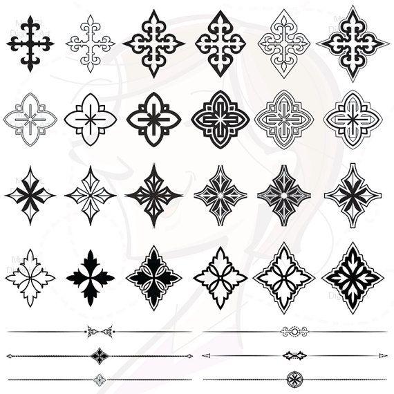 Decorative Cross VECTOR Clipart Jpeg Png Graphic Retro Scrapbook ...