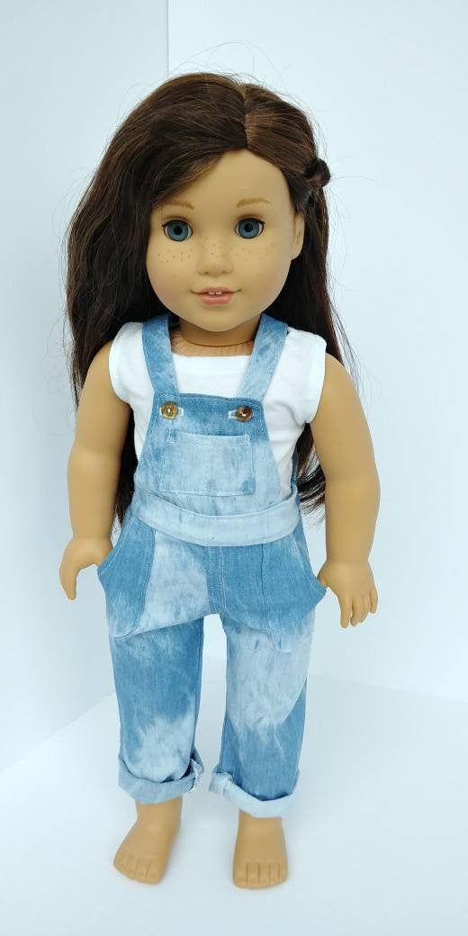 Overalls. 18 inch doll clothes. Fits like American girl doll clothing. 18 inch doll clothing. Acid wash overalls and tank top #americangirldollcrafts