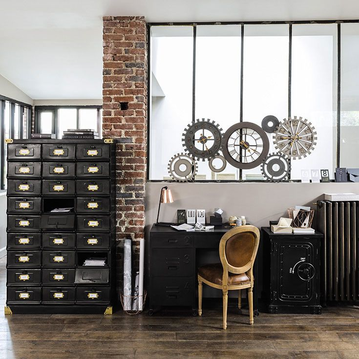 bureau briques verri re industriel noir parquet maisons du monde working place. Black Bedroom Furniture Sets. Home Design Ideas