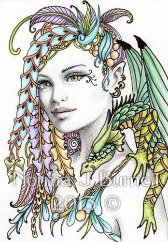 "Fairy Tangles: ""Lisbeth"" - ACEO Fairy-Tangle and Dragon"