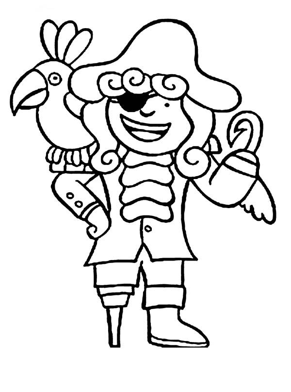 Chibi Hook Pirate And His Parrot Coloring Pages Bulk Color In 2020 Pirate Coloring Pages Bird Coloring Pages Whale Coloring Pages