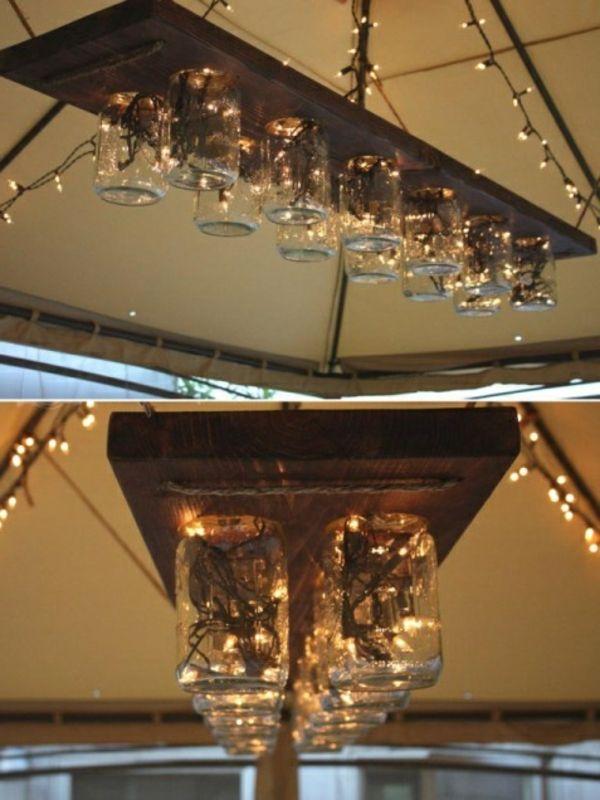 hölzernes brett und gläserne becher - deckenlampe selber machen, Wohnideen design