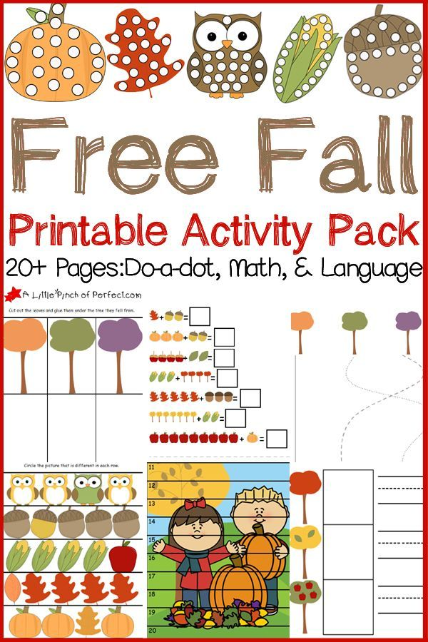 Free Fall Printable Activity Pack: Do-a-dot pages, Math, and ...