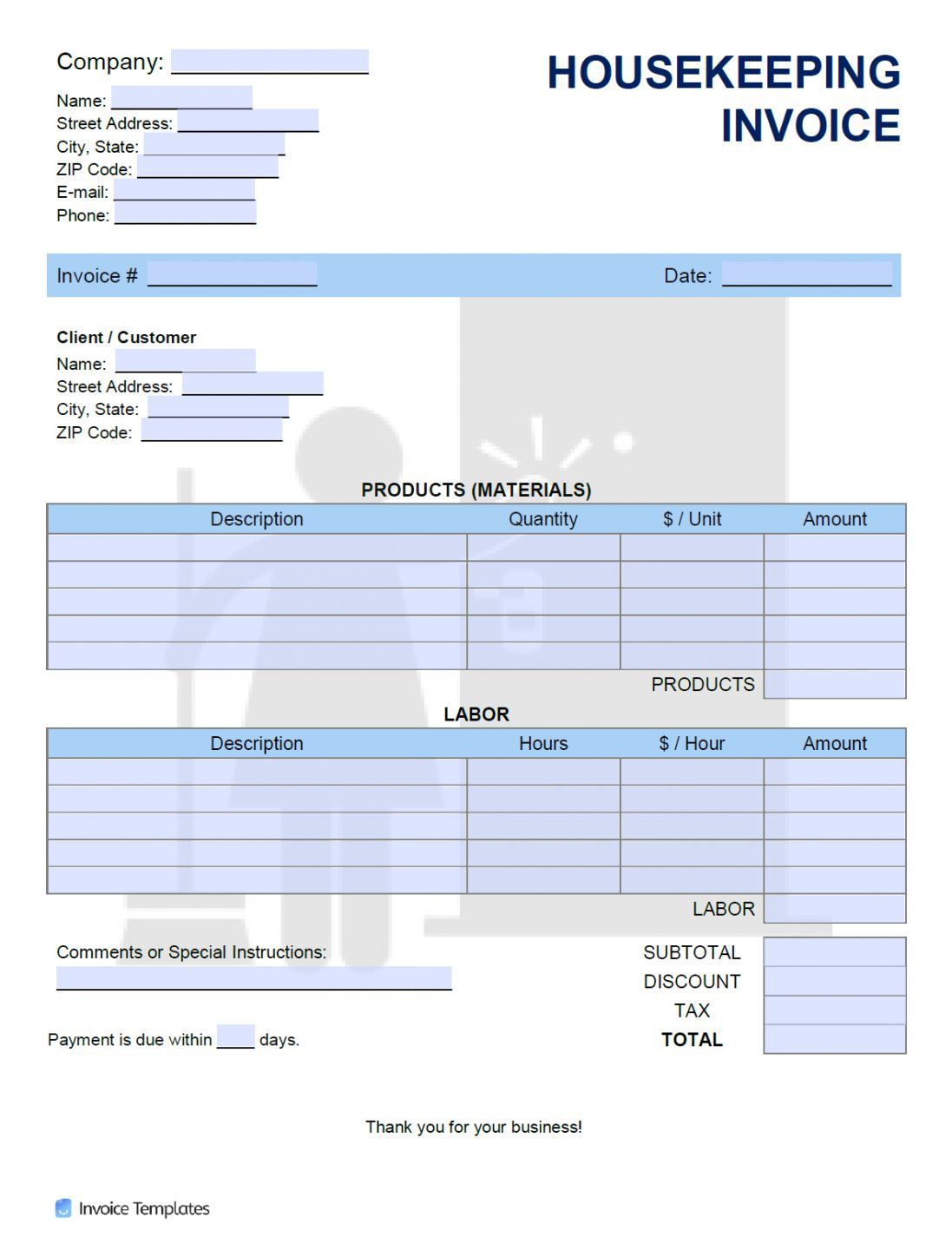 How To Send A House Cleaning Invoice Template Doc Sample In 2021 Invoice Template Receipt Template Clean House