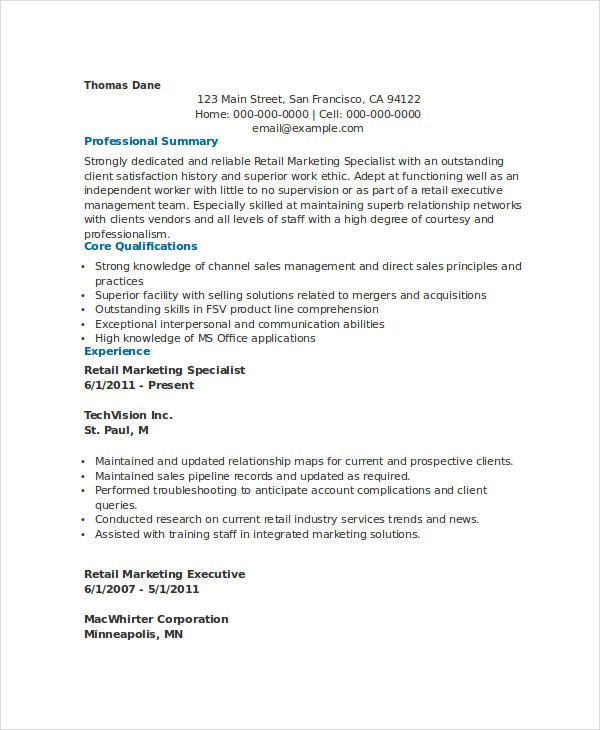 Retail Marketing Specialist Resume , Marketing Resume Samples for - marketing retail sample resume