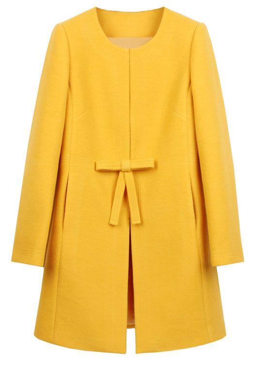 Shop Yellow Bowknot Front H-line Simple Wool Blend Coat online ...