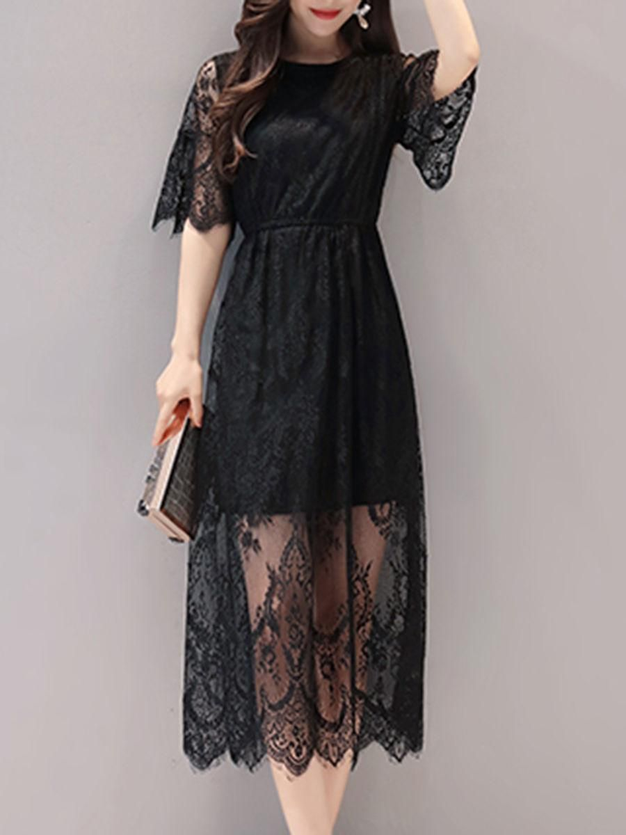 Solid lace hollow out bell sleeve maxi dress dresses pinterest
