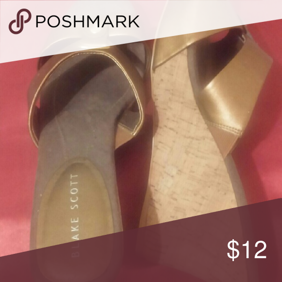 Copper and cork wedge sandals Never worn but no tags or box.  Platform wedge. Shoes Espadrilles