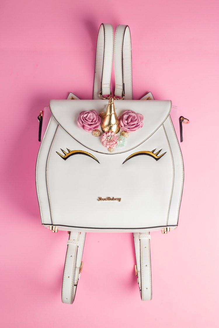 Round Unicorn motif Purse handbag with long cross the body strap UK SELLER,